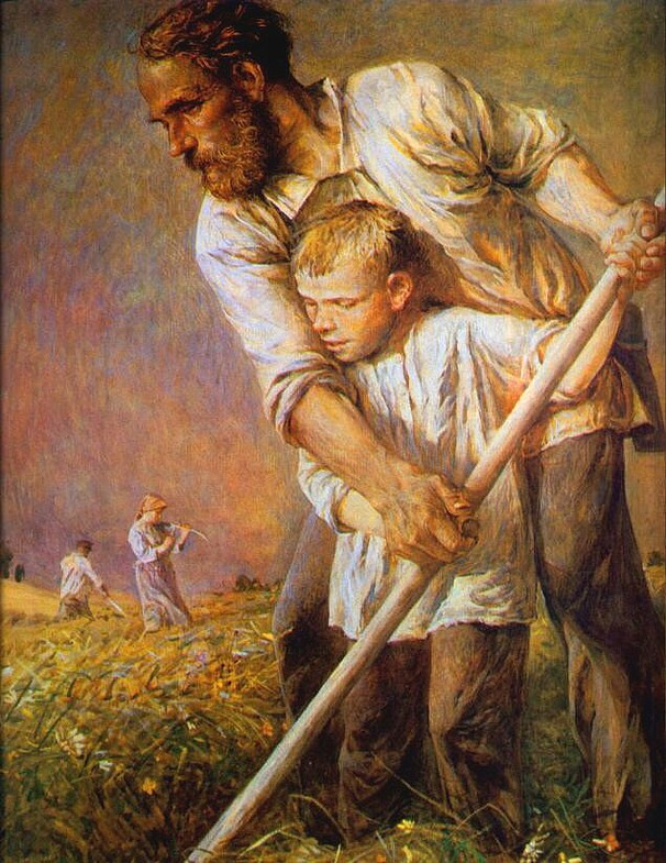 """Картины с отцами. Е.Флёрова. """"Отец и сын"""""""